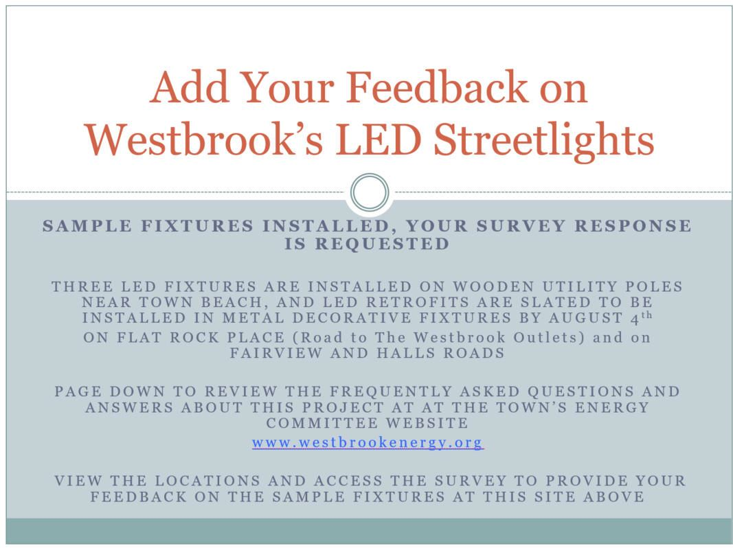 LED Streetlight Feedback Flyer