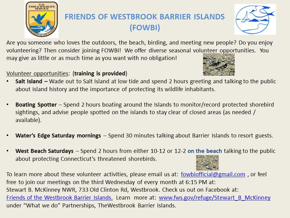 Friends of Westbrook Barrier Islands Information