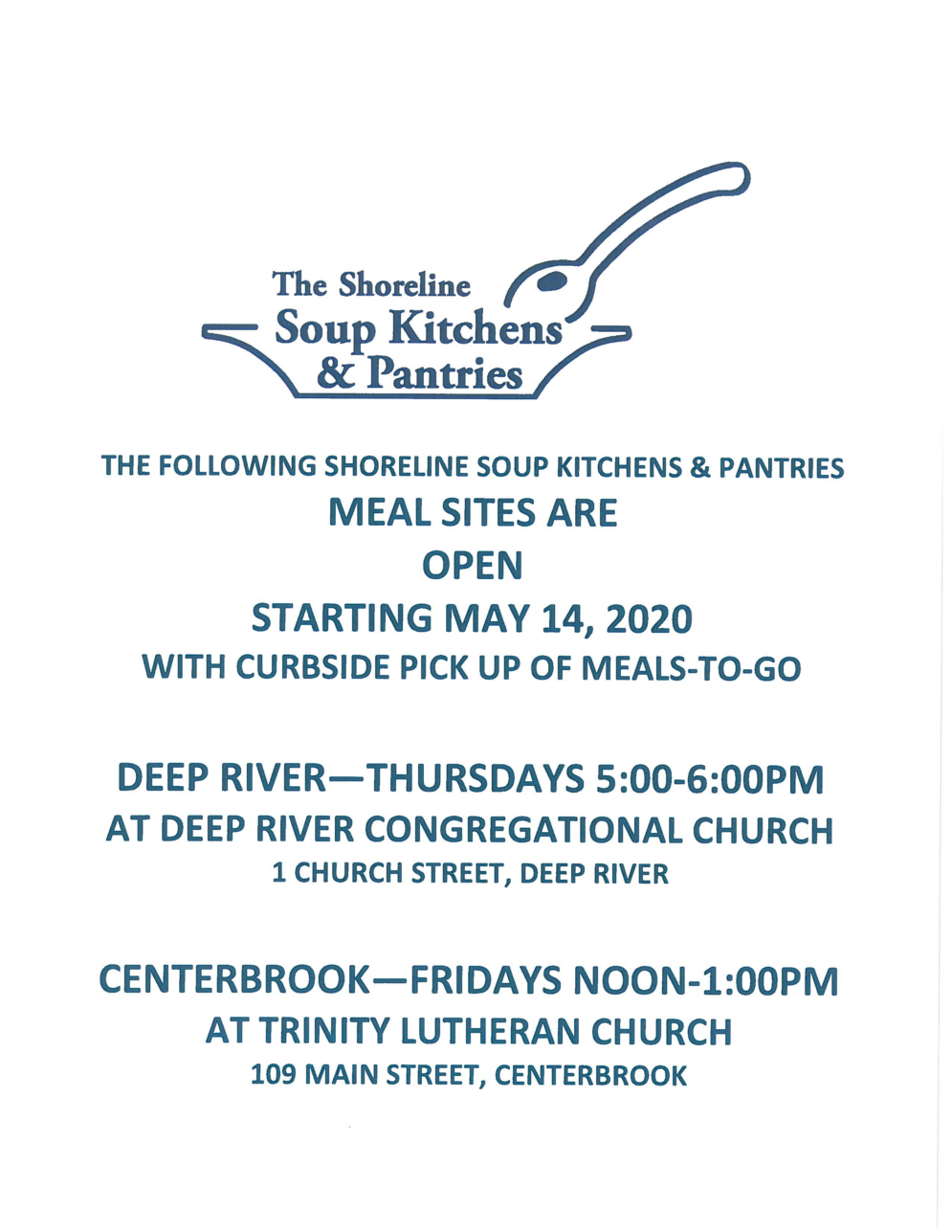 Shoreline Soup Kitchen and Pantries - Meal Sites Open
